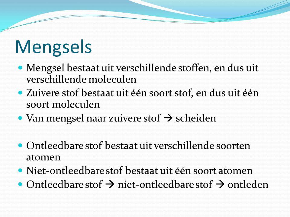 Mengsels Mengsel bestaat uit verschillende stoffen, en dus uit verschillende moleculen Zuivere stof bestaat uit één soort stof, en dus uit één soort m