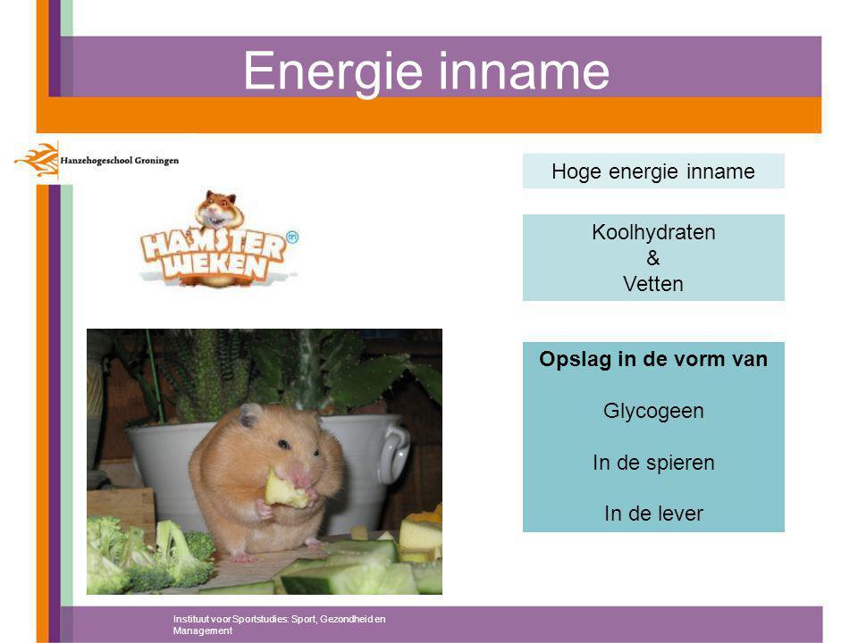 Energie inname Instituut voor Sportstudies: Sport, Gezondheid en Management Hoge energie inname Koolhydraten & Vetten Opslag in de vorm van Glycogeen In de spieren In de lever