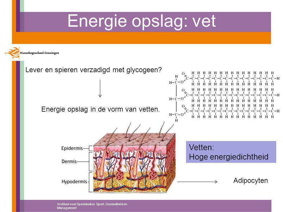 Energie opslag: vet Instituut voor Sportstudies: Sport, Gezondheid en Management Lever en spieren verzadigd met glycogeen? Energie opslag in de vorm v