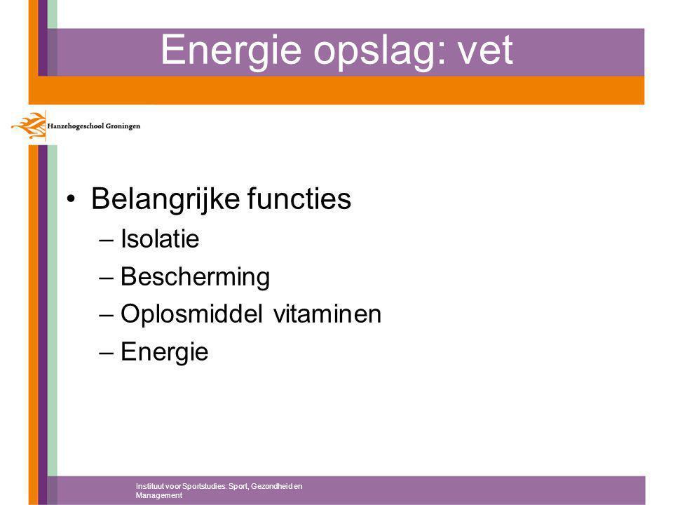 Energie opslag: vet Belangrijke functies –Isolatie –Bescherming –Oplosmiddel vitaminen –Energie Instituut voor Sportstudies: Sport, Gezondheid en Management