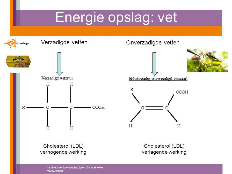 Energie opslag: vet Instituut voor Sportstudies: Sport, Gezondheid en Management Verzadigde vetten Onverzadigde vetten Cholesterol (LDL) verhogende werking Cholesterol (LDL) verlagende werking