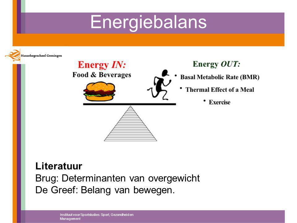 Energiebalans Instituut voor Sportstudies: Sport, Gezondheid en Management Literatuur Brug: Determinanten van overgewicht De Greef: Belang van bewegen.