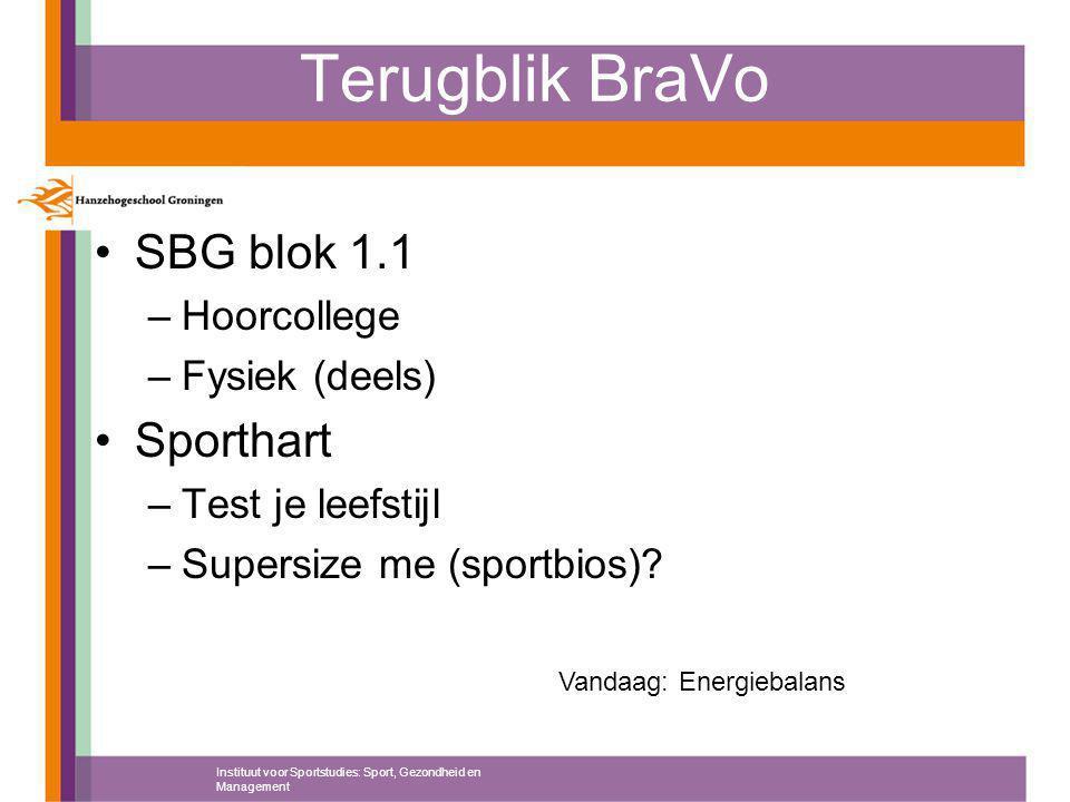 Terugblik BraVo SBG blok 1.1 –Hoorcollege –Fysiek (deels) Sporthart –Test je leefstijl –Supersize me (sportbios)? Instituut voor Sportstudies: Sport,