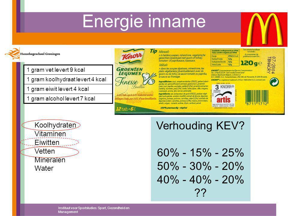 Energie inname Instituut voor Sportstudies: Sport, Gezondheid en Management 1 gram vet levert 9 kcal 1 gram koolhydraat levert 4 kcal 1 gram eiwit lev
