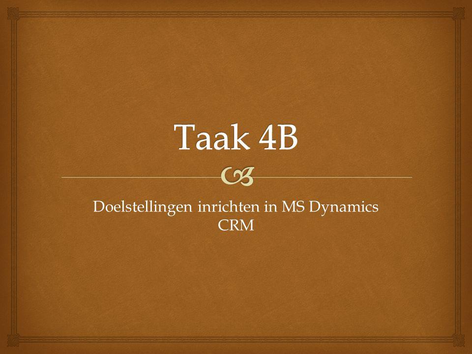 Doelstellingen inrichten in MS Dynamics CRM