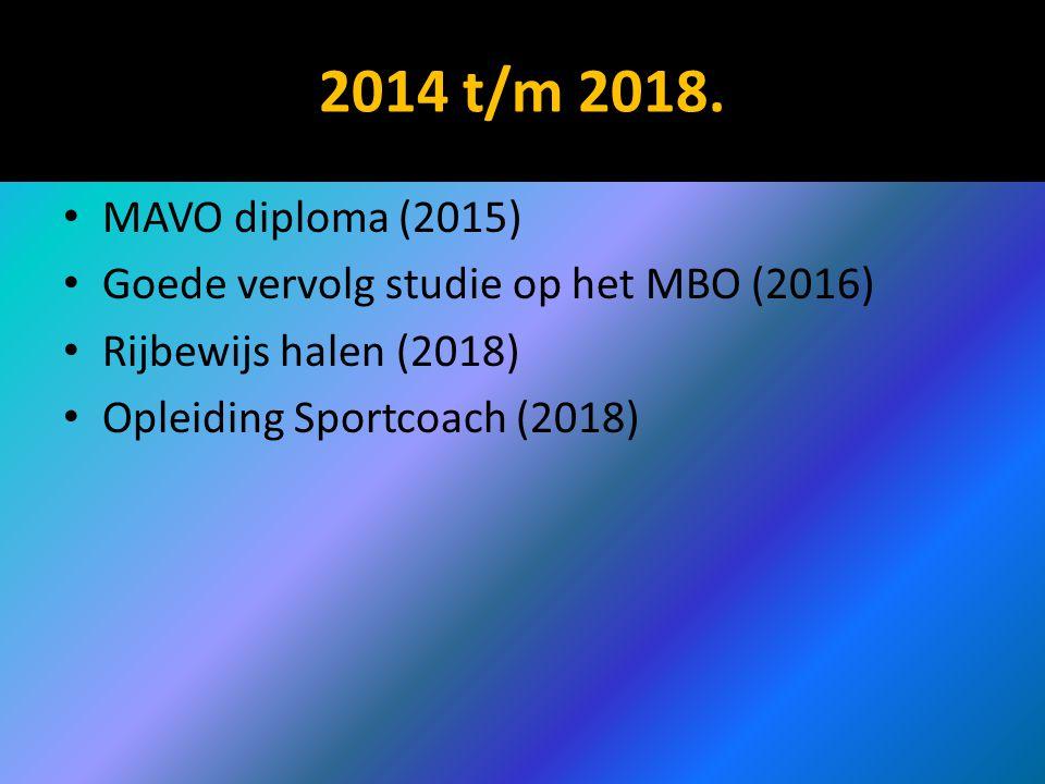 2014 t/m 2018. MAVO diploma (2015) Goede vervolg studie op het MBO (2016) Rijbewijs halen (2018) Opleiding Sportcoach (2018)