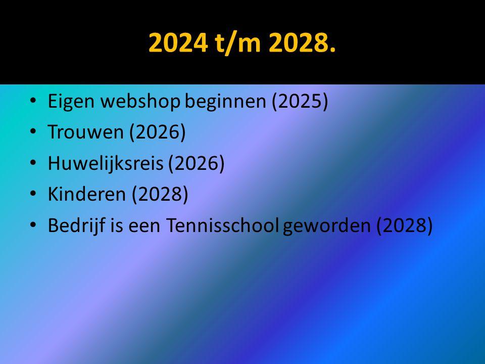2024 t/m 2028. Eigen webshop beginnen (2025) Trouwen (2026) Huwelijksreis (2026) Kinderen (2028) Bedrijf is een Tennisschool geworden (2028)