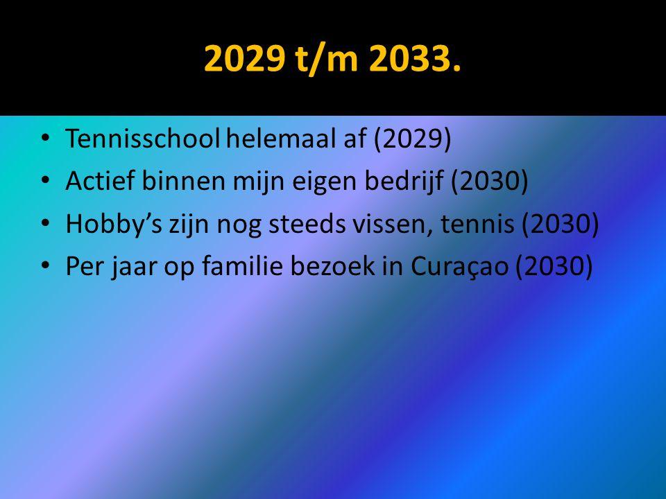 2029 t/m 2033. Tennisschool helemaal af (2029) Actief binnen mijn eigen bedrijf (2030) Hobby's zijn nog steeds vissen, tennis (2030) Per jaar op famil