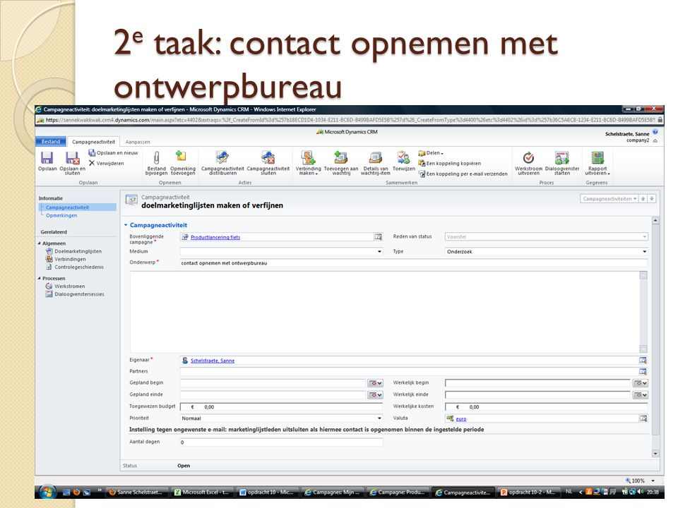 2 e taak: contact opnemen met ontwerpbureau