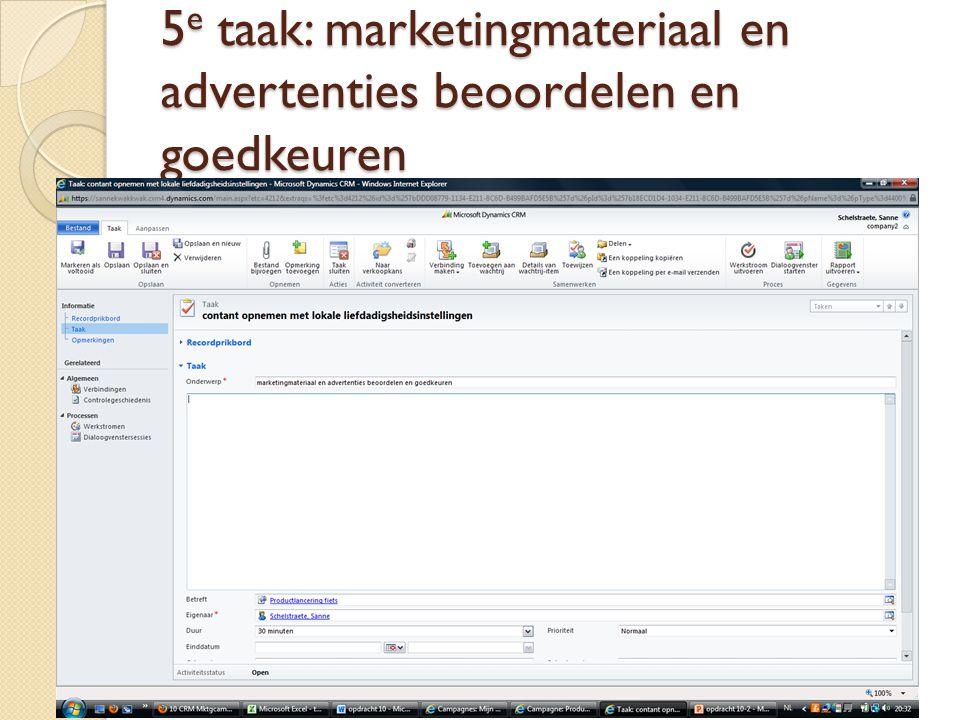 5 e taak: marketingmateriaal en advertenties beoordelen en goedkeuren