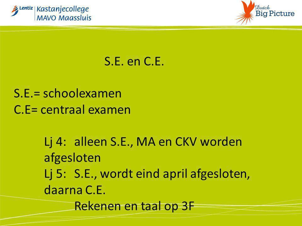 S.E. en C.E. S.E.= schoolexamen C.E= centraal examen Lj 4: alleen S.E., MA en CKV worden afgesloten Lj 5:S.E., wordt eind april afgesloten, daarna C.E