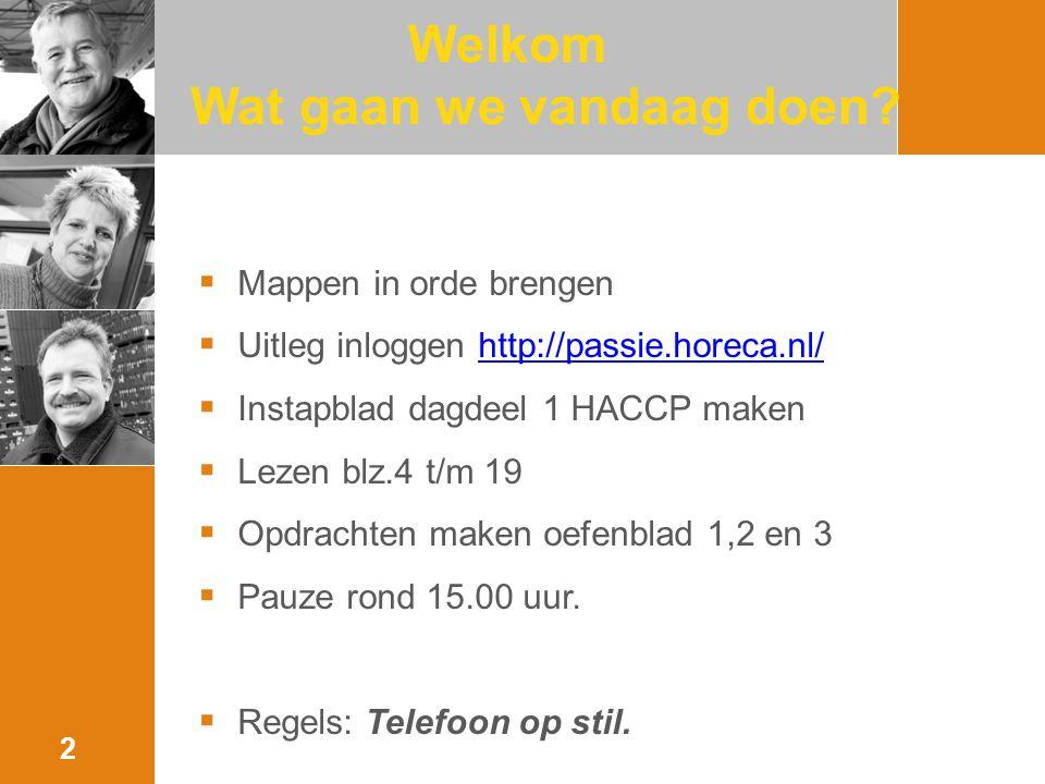 Welkom Wat gaan we vandaag doen? 2  Mappen in orde brengen  Uitleg inloggen http://passie.horeca.nl/http://passie.horeca.nl/  Instapblad dagdeel 1