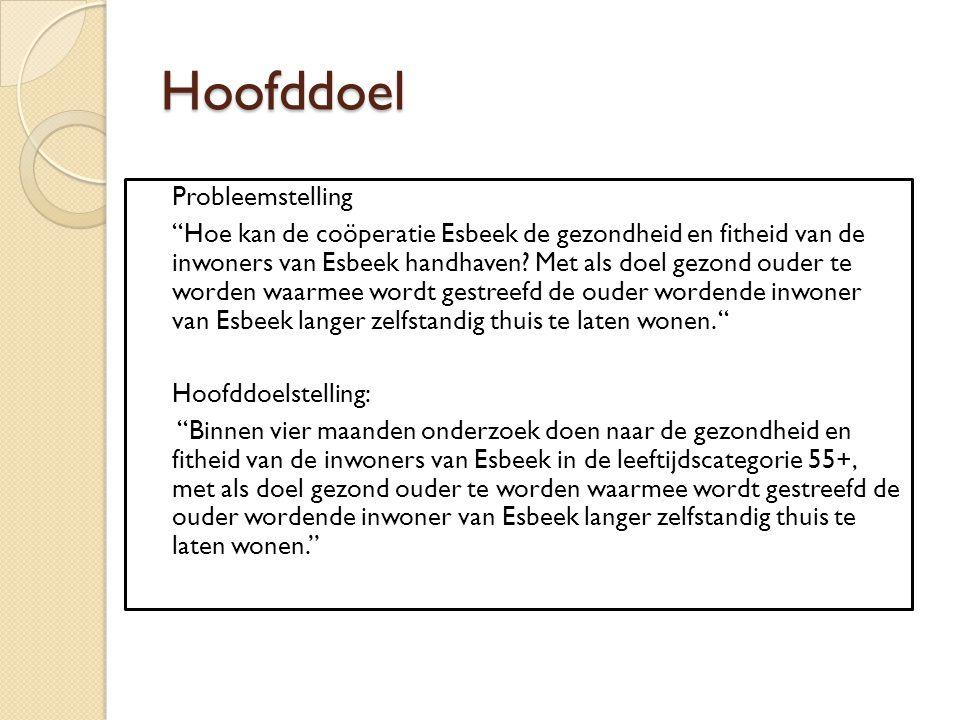 """Hoofddoel Probleemstelling """"Hoe kan de coöperatie Esbeek de gezondheid en fitheid van de inwoners van Esbeek handhaven? Met als doel gezond ouder te w"""