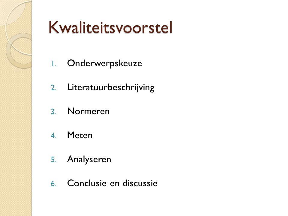 Kwaliteitsvoorstel 1. Onderwerpskeuze 2. Literatuurbeschrijving 3. Normeren 4. Meten 5. Analyseren 6. Conclusie en discussie
