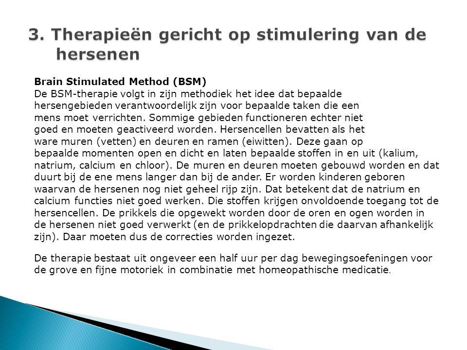 Brain Stimulated Method (BSM) De BSM-therapie volgt in zijn methodiek het idee dat bepaalde hersengebieden verantwoordelijk zijn voor bepaalde taken die een mens moet verrichten.