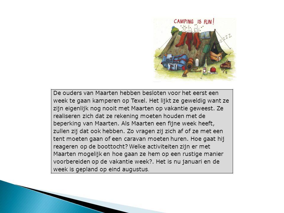 De ouders van Maarten hebben besloten voor het eerst een week te gaan kamperen op Texel. Het lijkt ze geweldig want ze zijn eigenlijk nog nooit met Ma