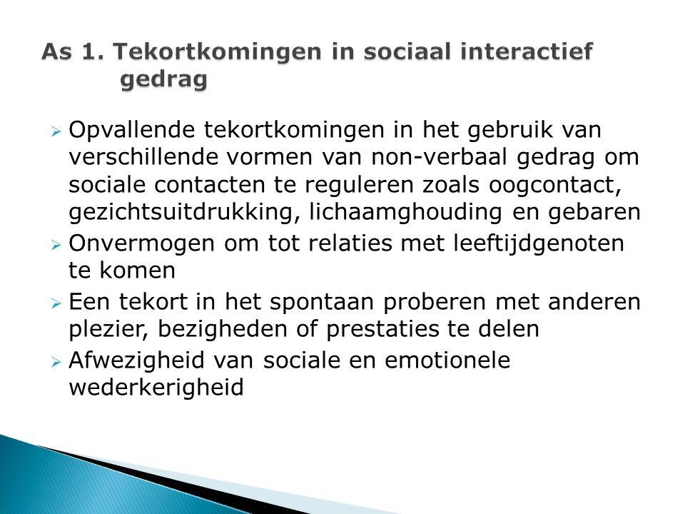  Opvallende tekortkomingen in het gebruik van verschillende vormen van non-verbaal gedrag om sociale contacten te reguleren zoals oogcontact, gezicht