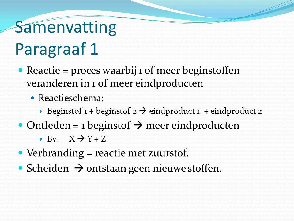 Samenvatting Paragraaf 1 Reactie = proces waarbij 1 of meer beginstoffen veranderen in 1 of meer eindproducten Reactieschema: Beginstof 1 + beginstof