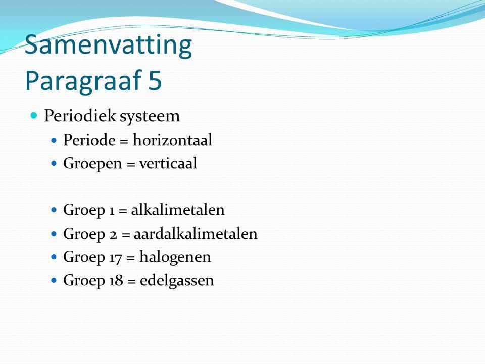 Samenvatting Paragraaf 5 Periodiek systeem Periode = horizontaal Groepen = verticaal Groep 1 = alkalimetalen Groep 2 = aardalkalimetalen Groep 17 = ha