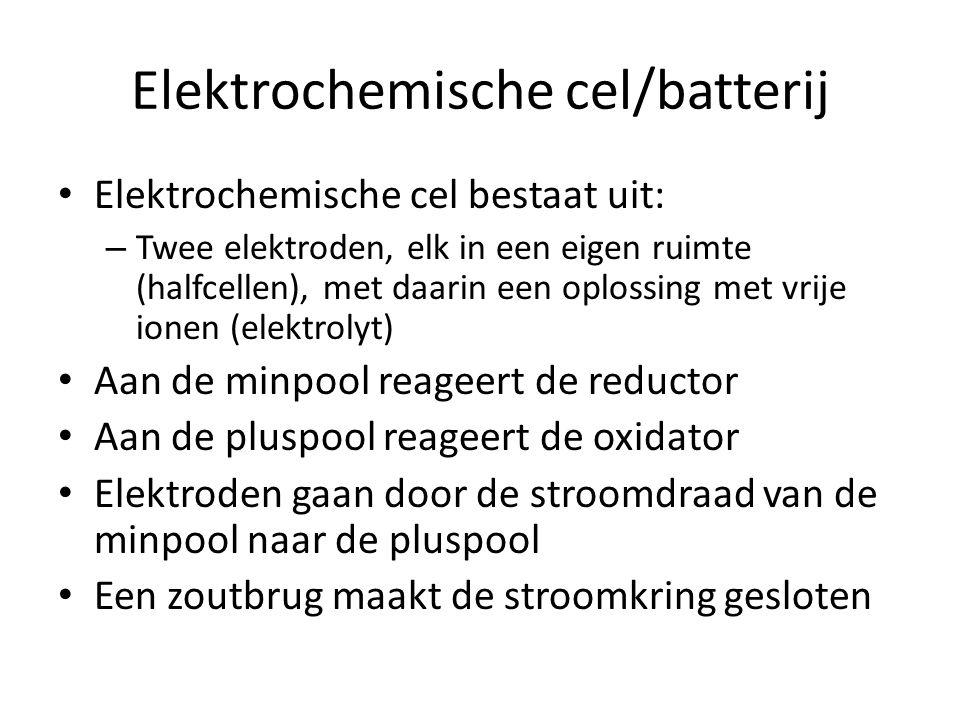 Elektrochemische cel/batterij Elektrochemische cel bestaat uit: – Twee elektroden, elk in een eigen ruimte (halfcellen), met daarin een oplossing met vrije ionen (elektrolyt) Aan de minpool reageert de reductor Aan de pluspool reageert de oxidator Elektroden gaan door de stroomdraad van de minpool naar de pluspool Een zoutbrug maakt de stroomkring gesloten