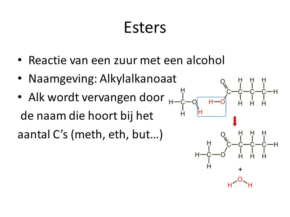 Esters Reactie van een zuur met een alcohol Naamgeving: Alkylalkanoaat Alk wordt vervangen door de naam die hoort bij het aantal C's (meth, eth, but…)