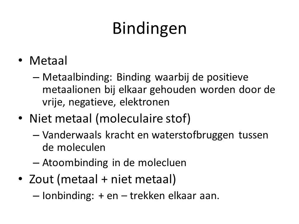 Bindingen Metaal – Metaalbinding: Binding waarbij de positieve metaalionen bij elkaar gehouden worden door de vrije, negatieve, elektronen Niet metaal (moleculaire stof) – Vanderwaals kracht en waterstofbruggen tussen de moleculen – Atoombinding in de molecluen Zout (metaal + niet metaal) – Ionbinding: + en – trekken elkaar aan.