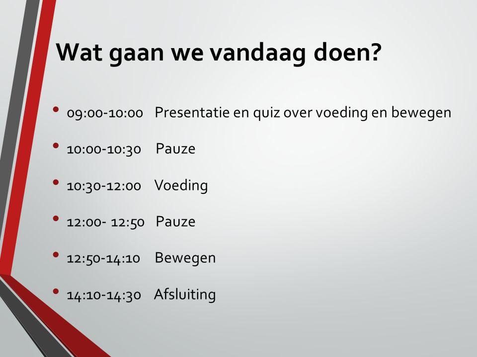 Wat gaan we vandaag doen? 09:00-10:00 Presentatie en quiz over voeding en bewegen 10:00-10:30 Pauze 10:30-12:00 Voeding 12:00- 12:50 Pauze 12:50-14:10