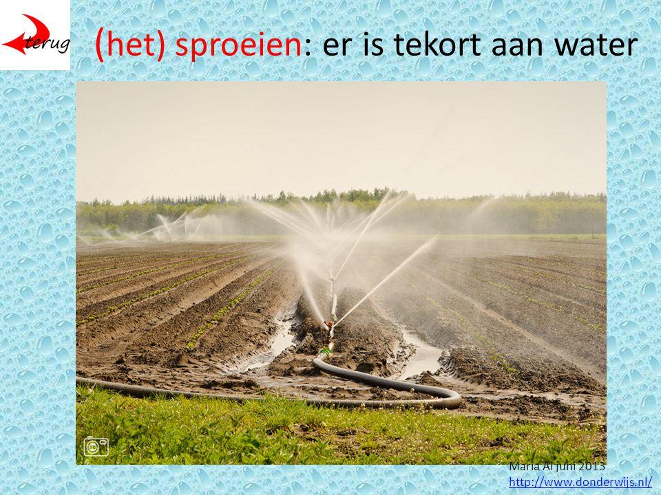 ( het) sproeien: er is tekort aan water Maria Al juni 2013 http://www.donderwijs.nl/