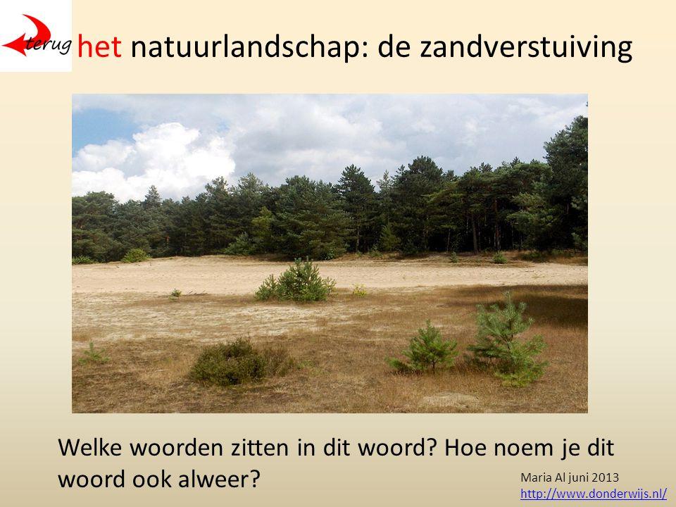 het natuurlandschap: de zandverstuiving Welke woorden zitten in dit woord.