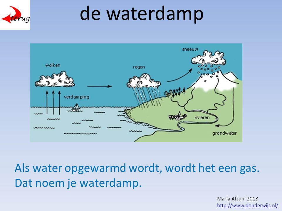 de waterdamp Als water opgewarmd wordt, wordt het een gas.