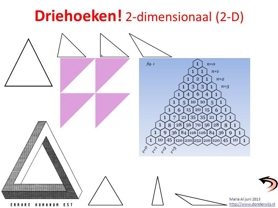 Driehoeken! 2-dimensionaal (2-D) Maria Al juni 2013 http://www.donderwijs.nl