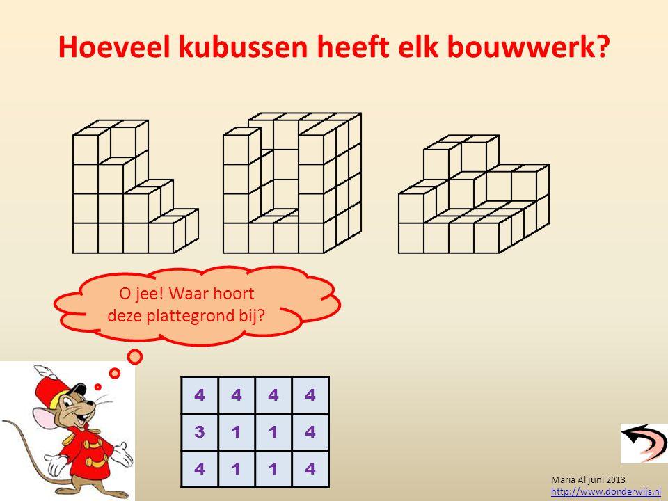 Hoeveel kubussen heeft elk bouwwerk? Maria Al juni 2013 http://www.donderwijs.nl 4444 3114 4114 O jee! Waar hoort deze plattegrond bij?