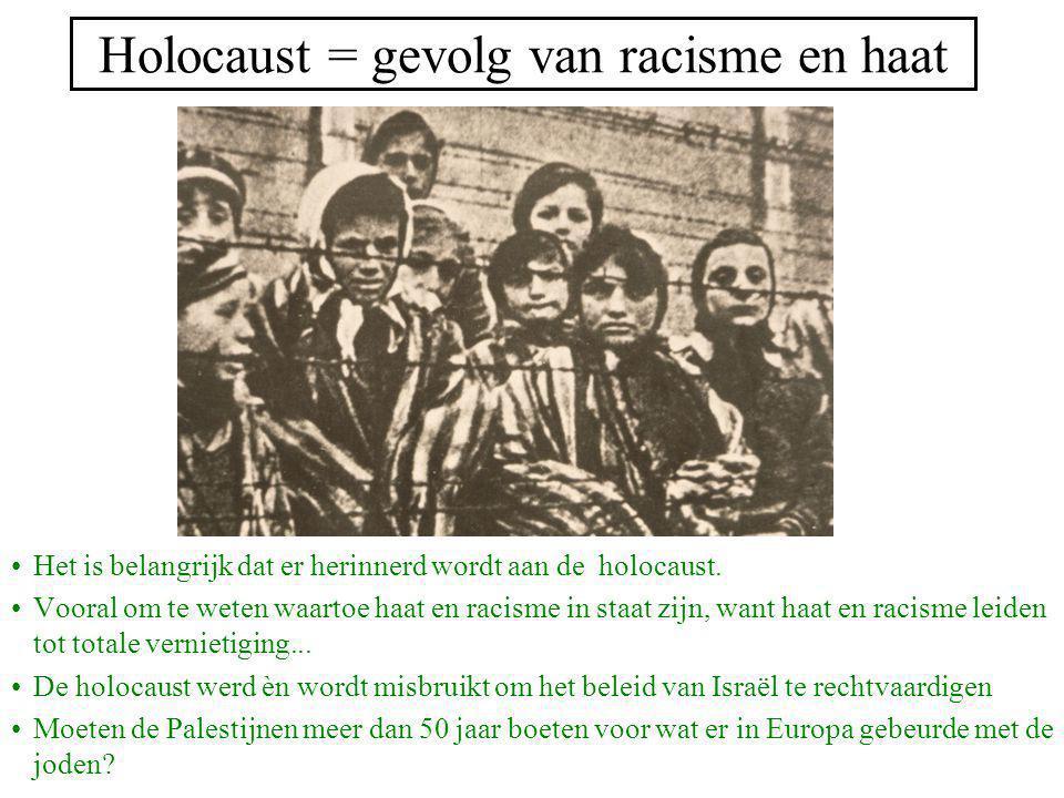Holocaust = gevolg van racisme en haat Het is belangrijk dat er herinnerd wordt aan de holocaust. Vooral om te weten waartoe haat en racisme in staat