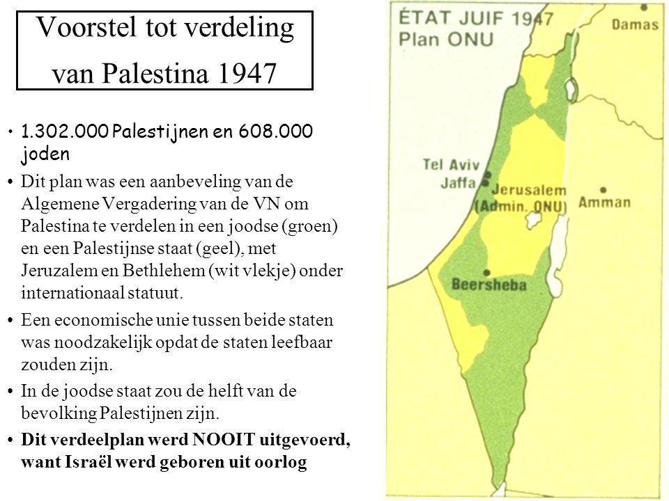 Voorstel tot verdeling van Palestina 1947 1.302.000 Palestijnen en 608.000 joden Dit plan was een aanbeveling van de Algemene Vergadering van de VN om