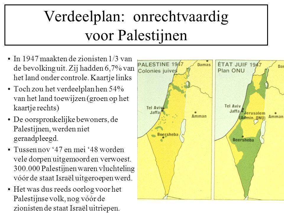 Verdeelplan: onrechtvaardig voor Palestijnen In 1947 maakten de zionisten 1/3 van de bevolking uit. Zij hadden 6,7% van het land onder controle. Kaart
