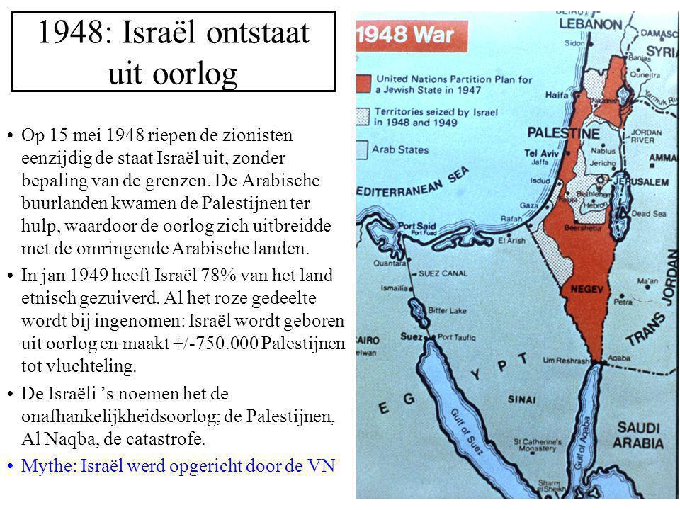 1948: Israël ontstaat uit oorlog Op 15 mei 1948 riepen de zionisten eenzijdig de staat Israël uit, zonder bepaling van de grenzen. De Arabische buurla