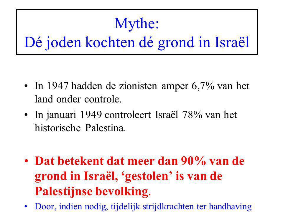 Mythe: Dé joden kochten dé grond in Israël In 1947 hadden de zionisten amper 6,7% van het land onder controle. In januari 1949 controleert Israël 78%