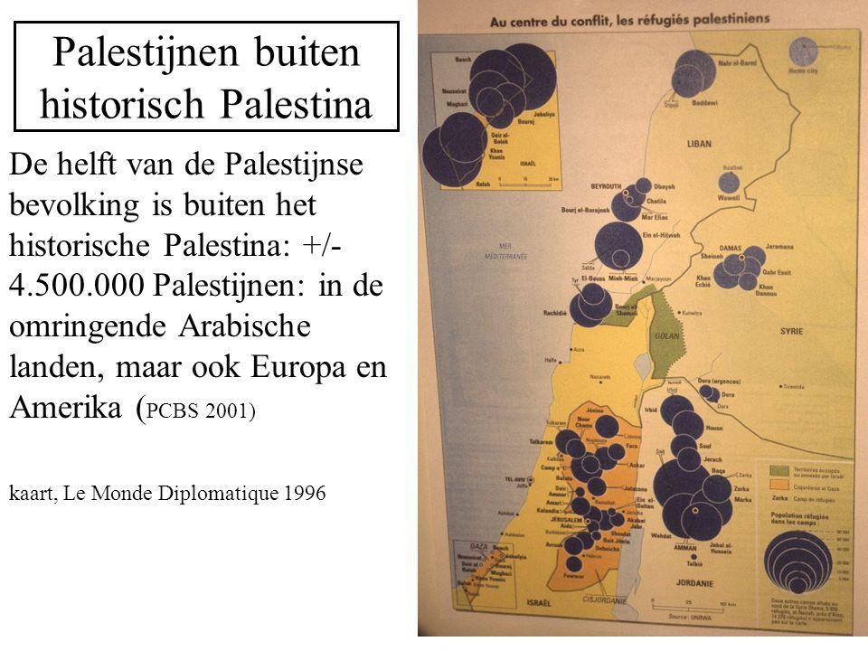 Palestijnen buiten historisch Palestina De helft van de Palestijnse bevolking is buiten het historische Palestina: +/- 4.500.000 Palestijnen: in de om