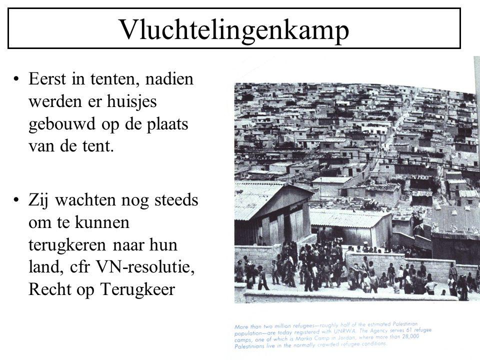 Vluchtelingenkamp Eerst in tenten, nadien werden er huisjes gebouwd op de plaats van de tent. Zij wachten nog steeds om te kunnen terugkeren naar hun
