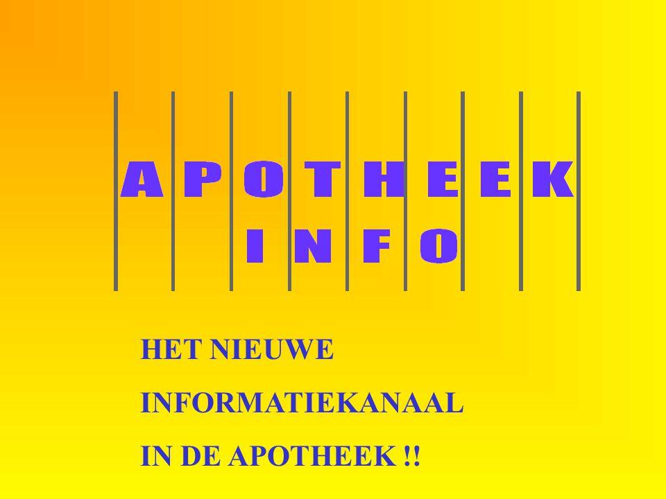 Start HET NIEUWE INFORMATIEKANAAL IN DE APOTHEEK !!