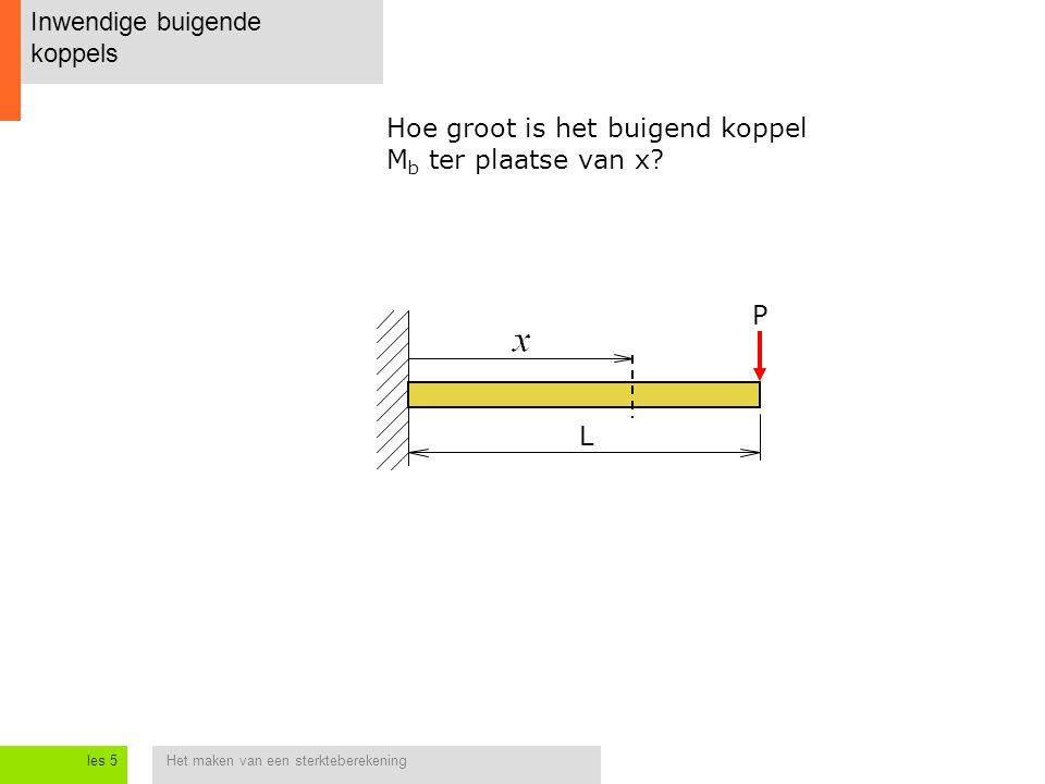 Het maken van een sterkteberekeningles 5 Inwendige buigende koppels L P Hoe groot is het buigend koppel M b ter plaatse van x?