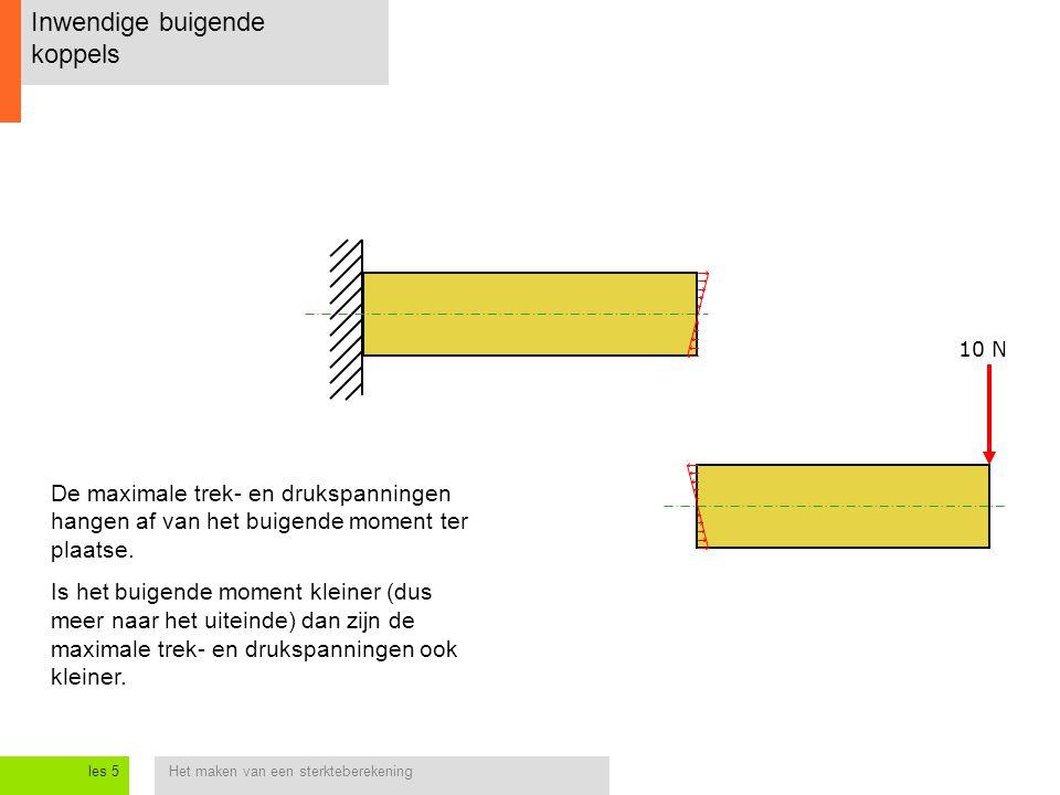 Het maken van een sterkteberekeningles 5 Inwendige buigende koppels De maximale trek- en drukspanningen hangen af van het buigende moment ter plaatse.