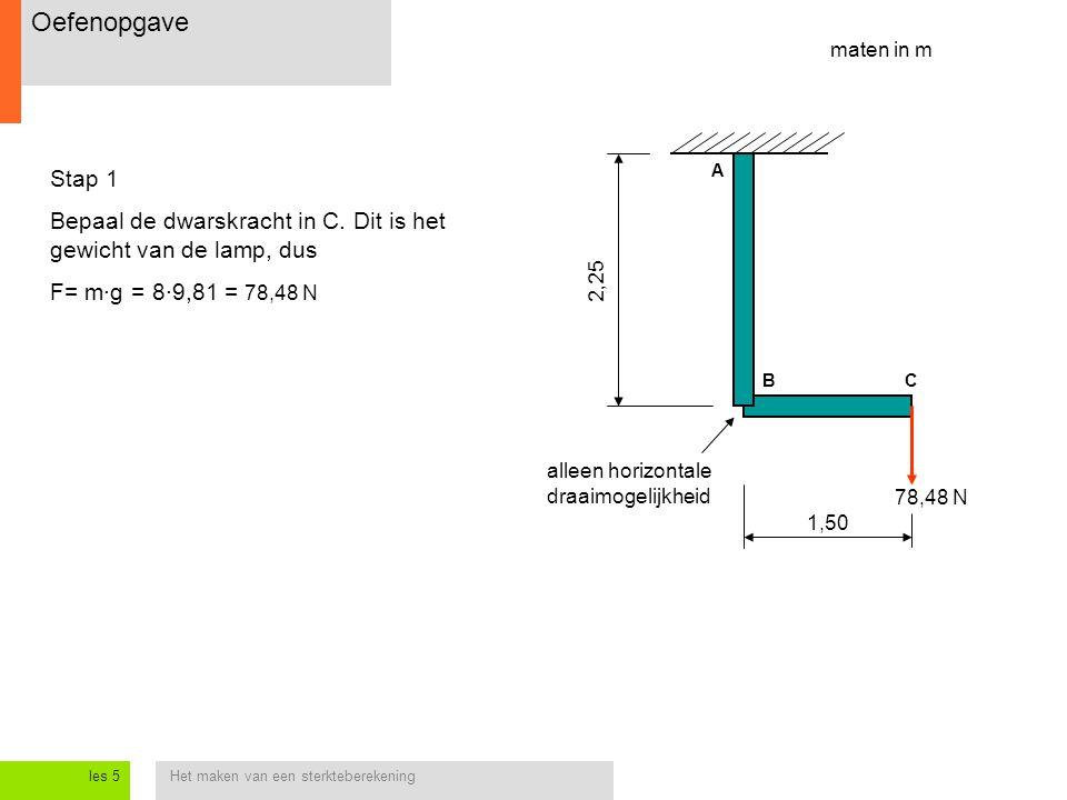 Het maken van een sterkteberekeningles 5 1,50 2,25 Stap 1 Bepaal de dwarskracht in C.