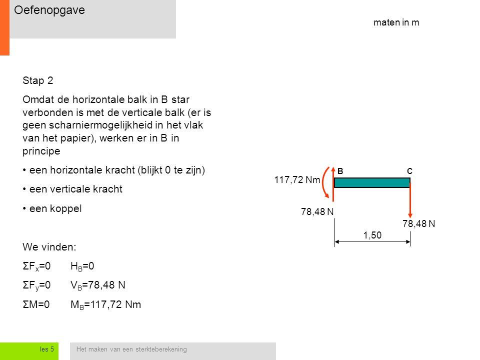 Het maken van een sterkteberekeningles 5 Stap 2 Omdat de horizontale balk in B star verbonden is met de verticale balk (er is geen scharniermogelijkheid in het vlak van het papier), werken er in B in principe een horizontale kracht (blijkt 0 te zijn) een verticale kracht een koppel We vinden: ΣF x =0H B =0 ΣF y =0V B =78,48 N ΣM=0M B =117,72 Nm maten in m 1,50 BC 78,48 N 117,72 Nm Oefenopgave