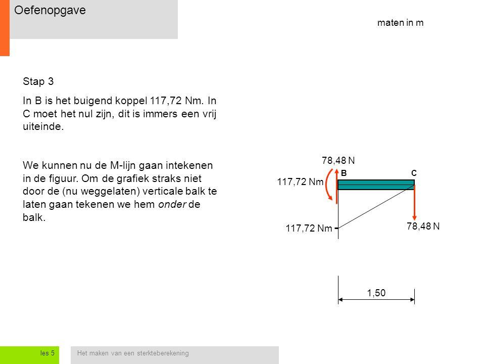 Het maken van een sterkteberekeningles 5 Stap 3 In B is het buigend koppel 117,72 Nm.