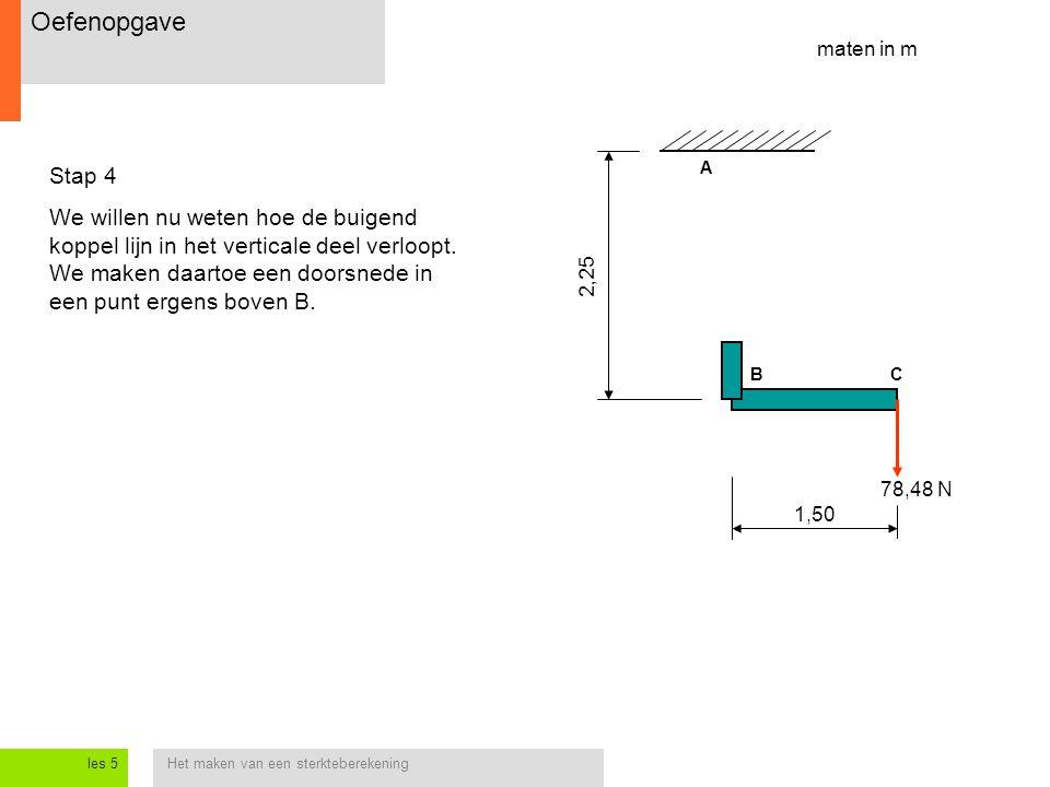 Het maken van een sterkteberekeningles 5 1,50 2,25 Stap 4 We willen nu weten hoe de buigend koppel lijn in het verticale deel verloopt.