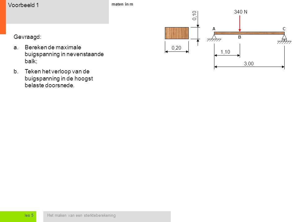 Het maken van een sterkteberekeningles 5 Voorbeeld 1 Gevraagd: a.Bereken de maximale buigspanning in nevenstaande balk; b.Teken het verloop van de buigspanning in de hoogst belaste doorsnede.