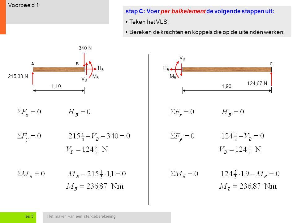 Het maken van een sterkteberekeningles 5 Voorbeeld 1 stap C: Voer per balkelement de volgende stappen uit: Teken het VLS; Bereken de krachten en koppels die op de uiteinden werken; 1,90 1,10 215,33 N BC 340 N 124,67 N A VBVB HBHB MBMB HBHB VBVB MBMB