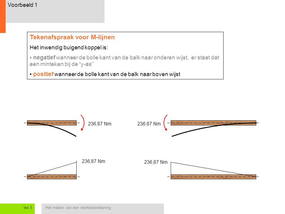 Het maken van een sterkteberekeningles 5 Voorbeeld 1 236,87 Nm Tekenafspraak voor M-lijnen Het inwendig buigend koppel is: negatief wanneer de bolle kant van de balk naar onderen wijst, er staat dat een minteken bij de y-as positief wanneer de bolle kant van de balk naar boven wijst 236,87 Nm