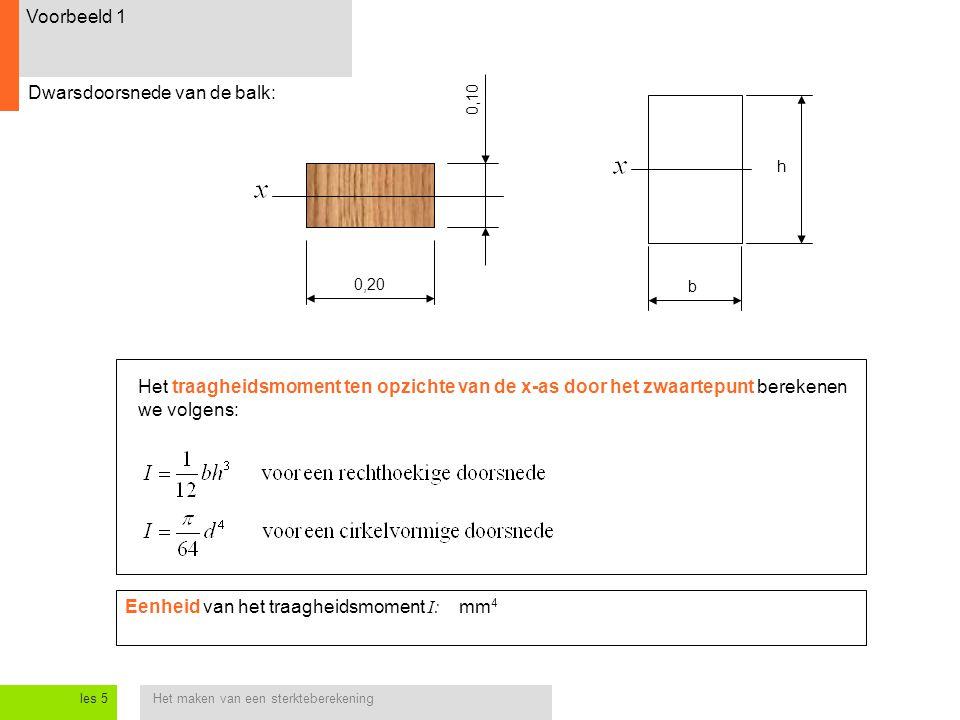 Het maken van een sterkteberekeningles 5 Voorbeeld 1 Dwarsdoorsnede van de balk: 0,20 0,10 Het traagheidsmoment ten opzichte van de x-as door het zwaartepunt berekenen we volgens: b h Eenheid van het traagheidsmoment I: mm 4